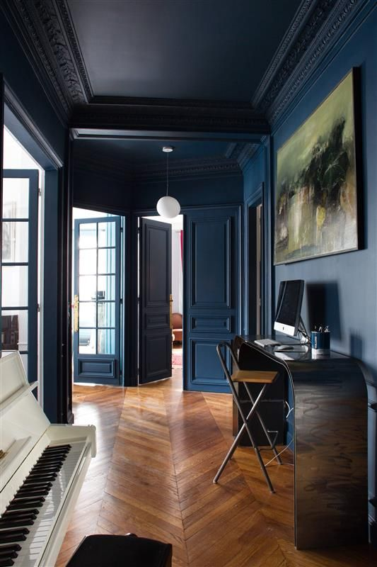 Navy Blue walls:ceiling:trim